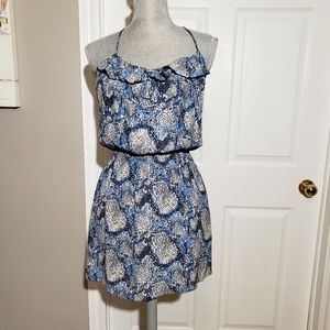 PARKER blue snakeskin print silk dress